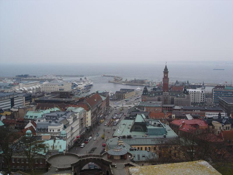 Вид на город Хельсингборг в Швеции