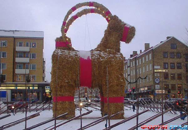 Рождественский козлик Gävlebocken в Gävle