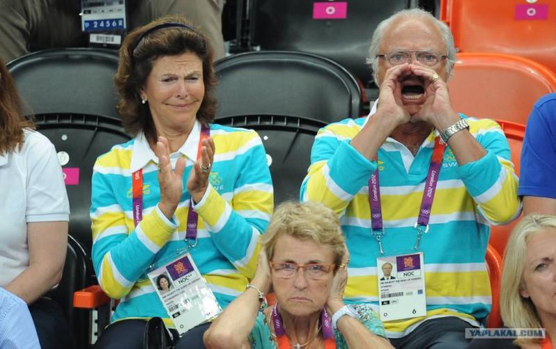 Шведский король смотрит олимпийские игры в Лондоне и ярко болеет