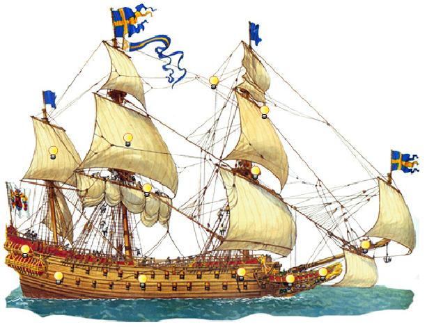 Восстановленный корабль Васа, который затонул